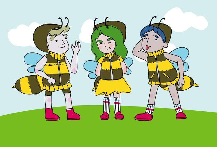 Spaß-Kinder tragen Hornissen-Kostüm-Charakter-Vektor-Karikatur-Illustration