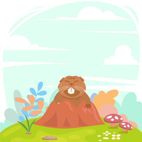 Gopher in Tunnel With Cute Style Design