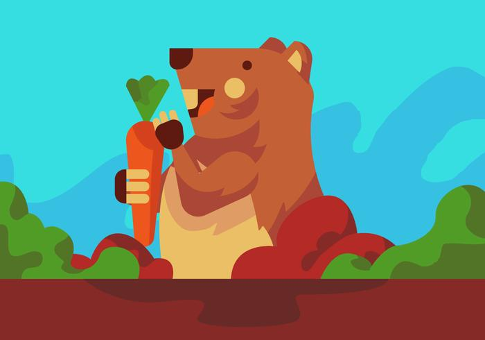 Gopher Eating Carrot Vector