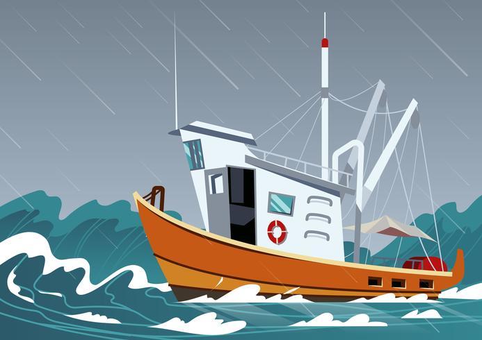Vetor de traineira pesqueiro
