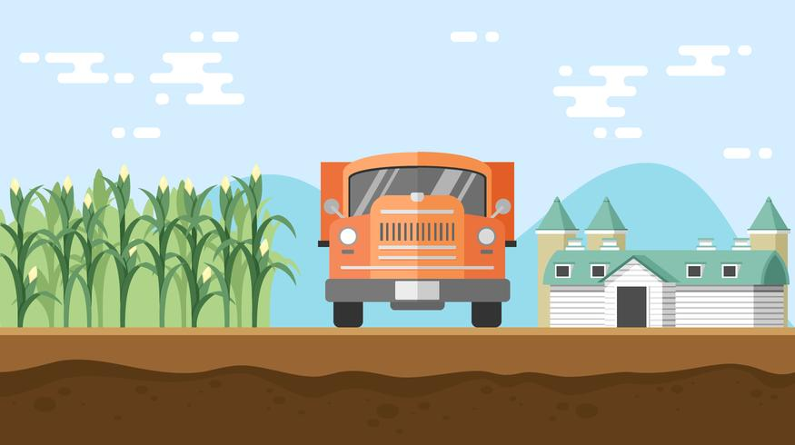 Checking The Cornfield By Riding A Truck Free Vector