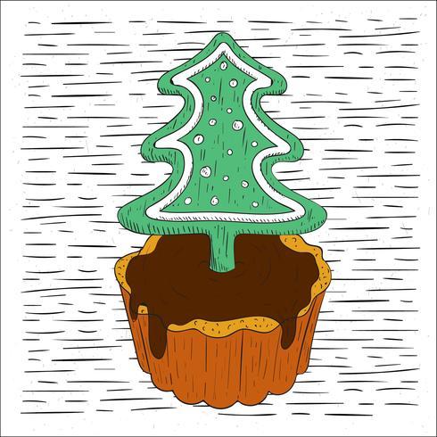 Fri handdragen Vector Christmas Pie Illustration