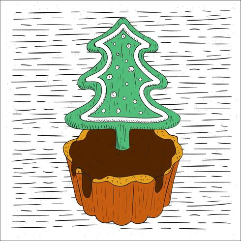 Free Hand Drawn Vector Christmas Pie Illustration