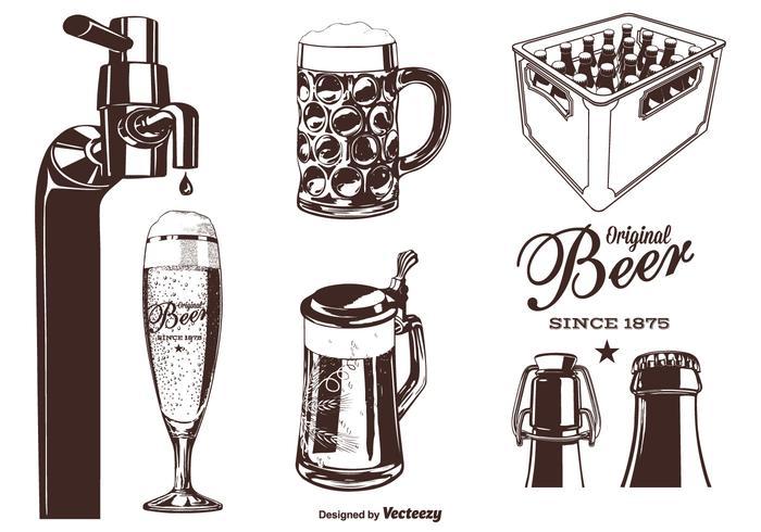 Insieme di vettore della siluetta della birra