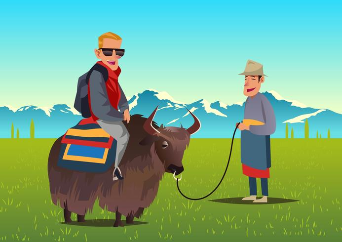 Tourist Riding Yak Vector