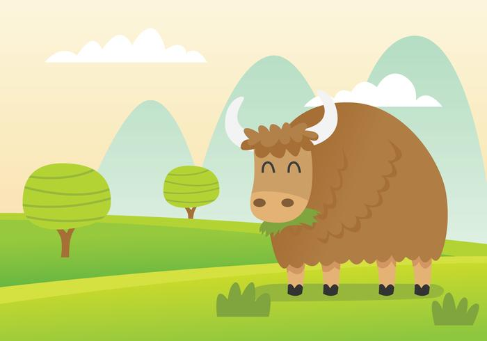Yak Eating in a Green Field Vector