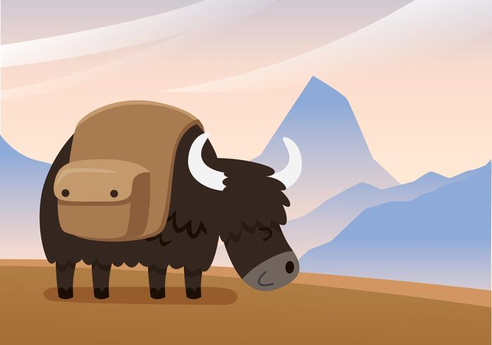 Yak on a Mountain Vector