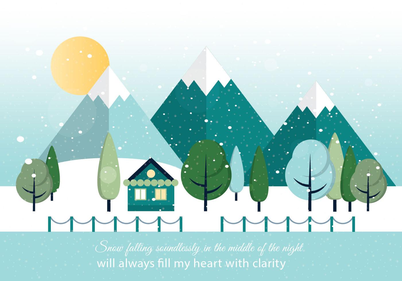 Free flat design vector winter landscape download for Design paysage