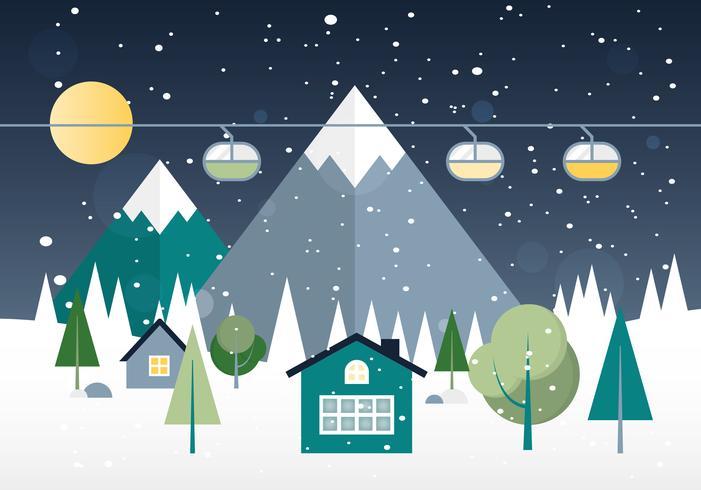 Free Flat design Vector Winter Landscape