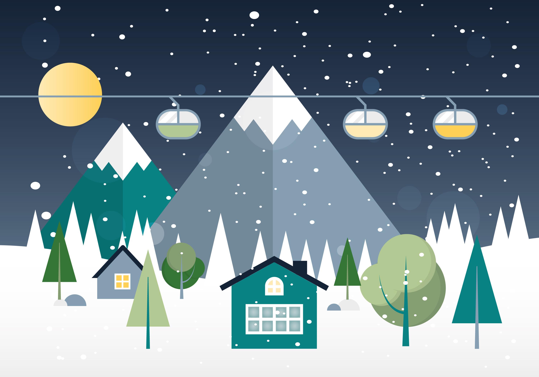 free flat design vector winter landscape download free. Black Bedroom Furniture Sets. Home Design Ideas