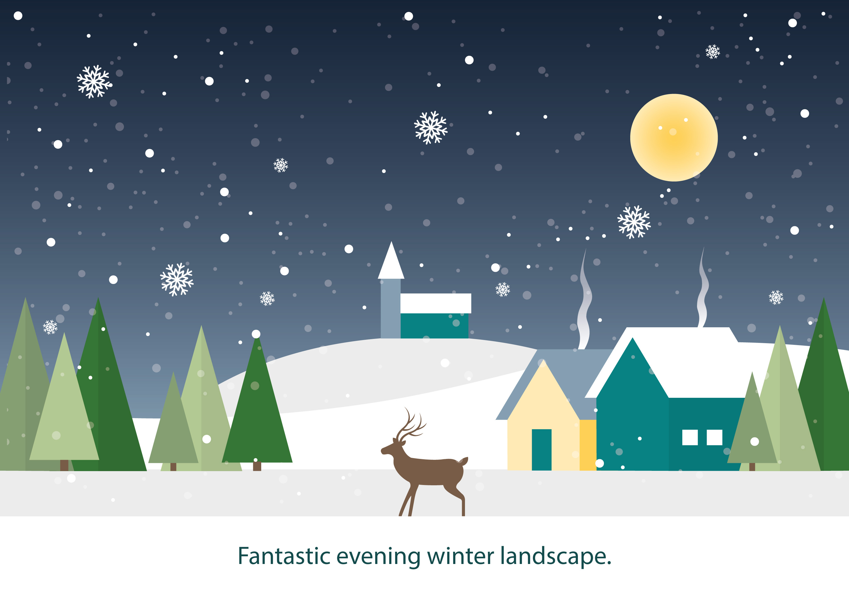 free flat design vector winter landscape download. Black Bedroom Furniture Sets. Home Design Ideas