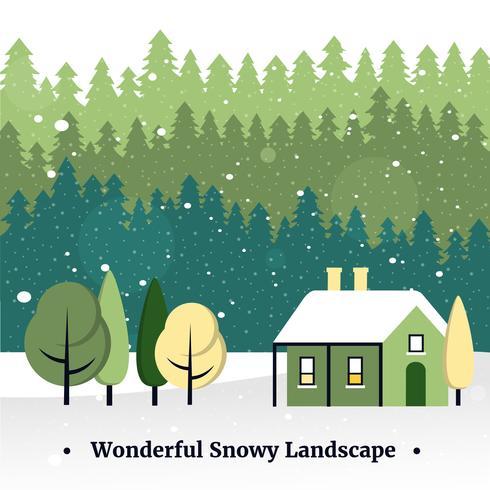 Paesaggio di Natale vettoriali Design piatto gratuito