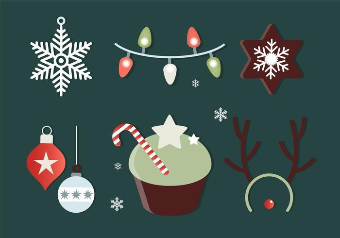 Gratis platte ontwerp Vector Christmas Elements