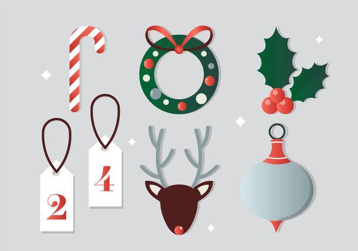Gratis plattdesign vektor julelement