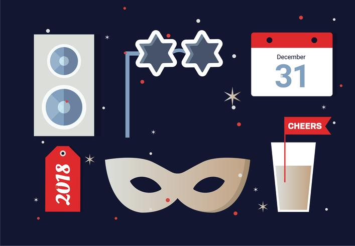 Free Flat Design Vector New Year Elements