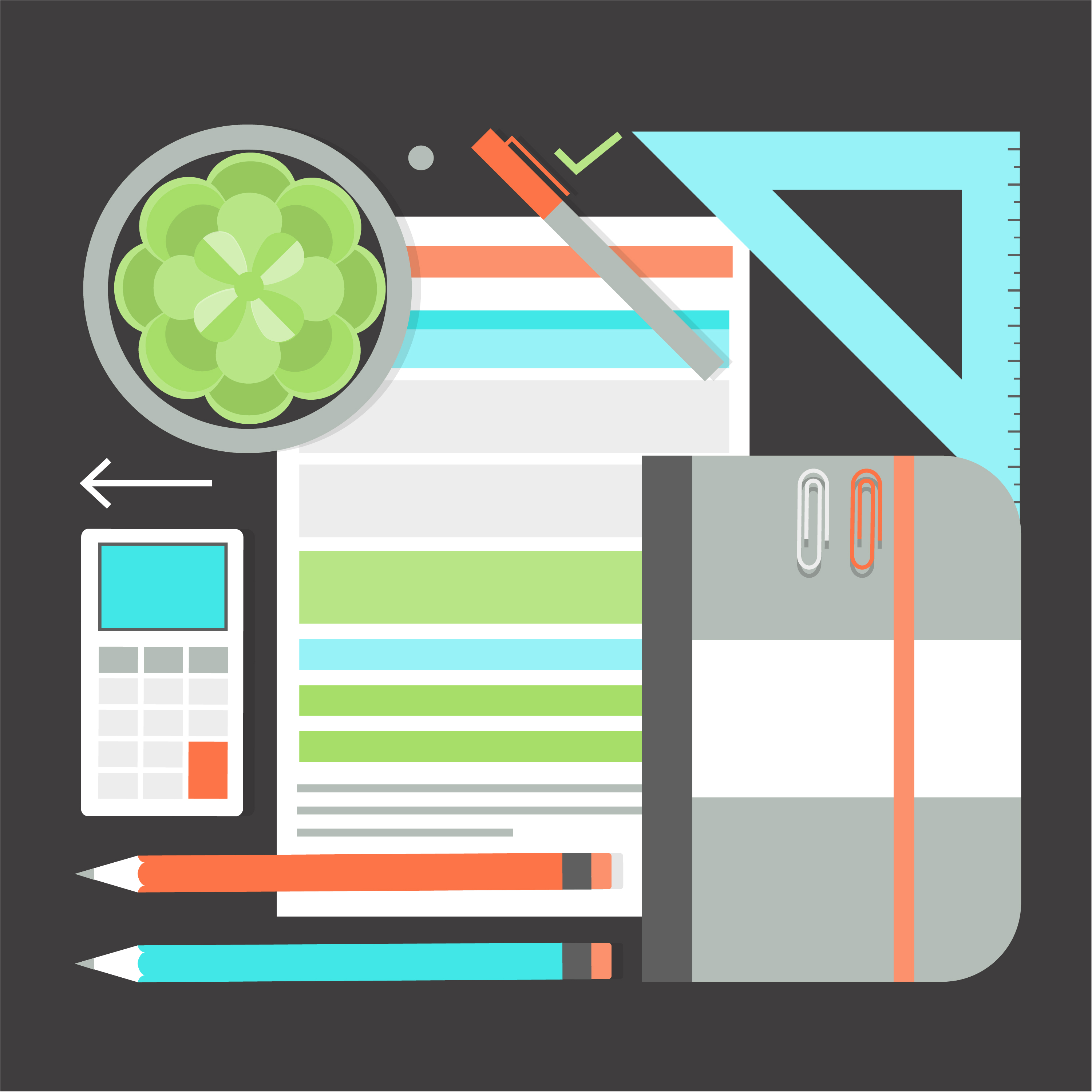 Free flat design vector office elements and icons for Office design elements