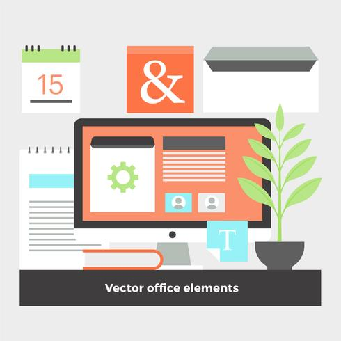 Free flat design vector digital office elements download for Office design vector