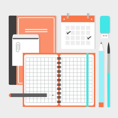 Free Flat Design Vector Office Elements
