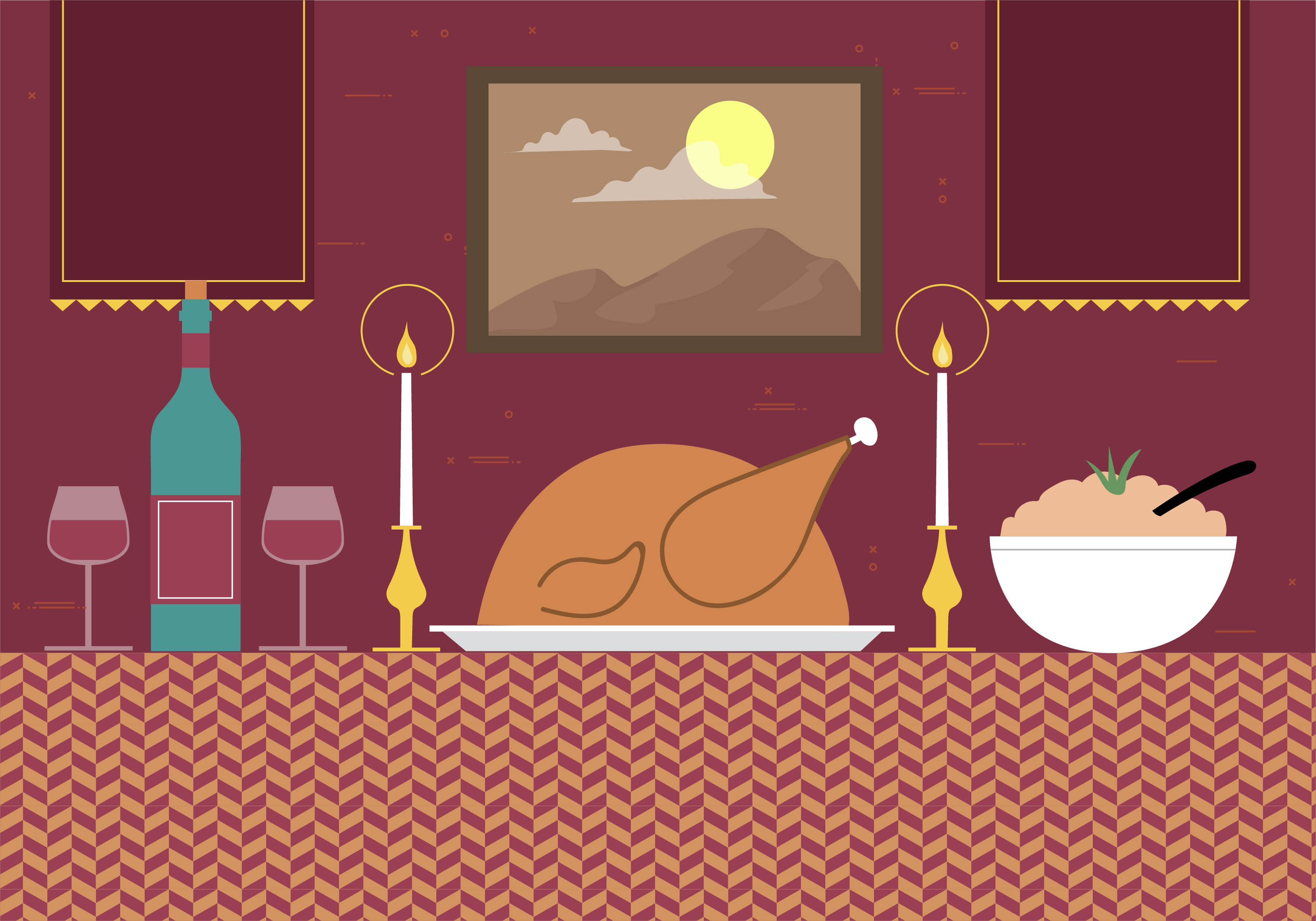 Free Hand Drawn Vector Dinner Illustration Download Free