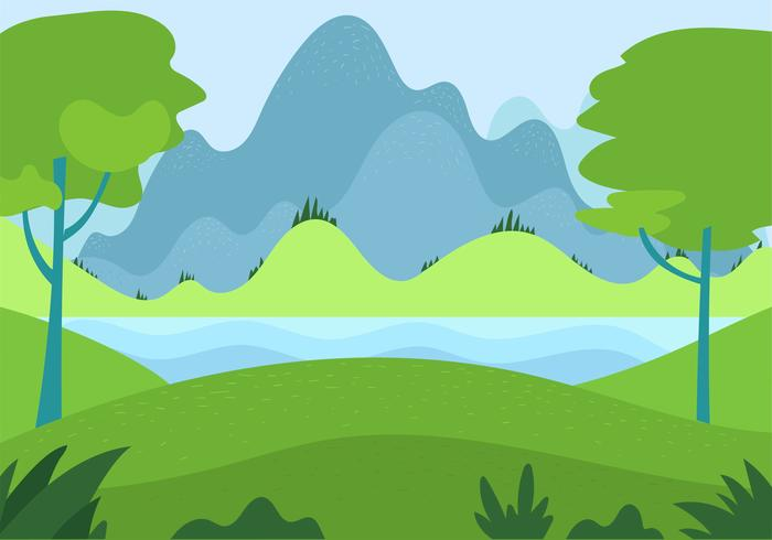 Illustration de paysage vecteur dessinés à la main libre