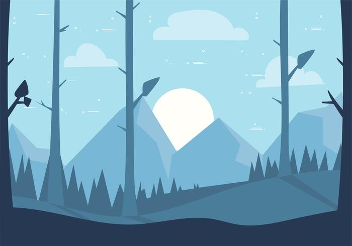 Free Hand Drawn Vector Landscape Illustration