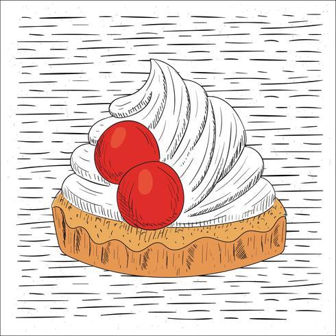 Gratis Hand Getrokken Vector Cake Illustratie