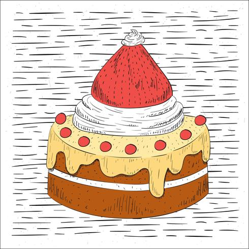 Illustration de gâteau vecteur dessiné à la main libre