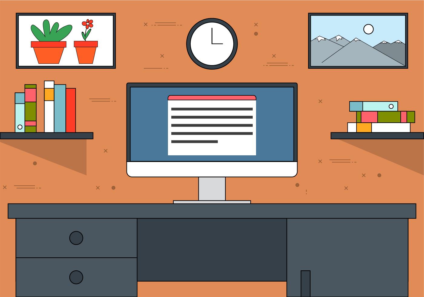 Free Flat Design Vector Office Illustration Download