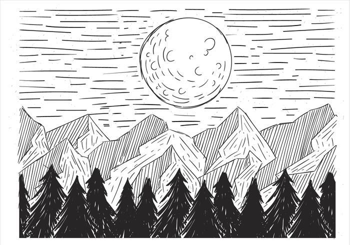 Kostenlose Hand gezeichnete Vektor-Landschaftsillustration vektor