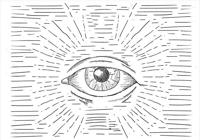 Illustrazione disegnata a mano dell'occhio di vettore