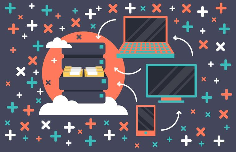 Data Base Cloud Flat Illustration