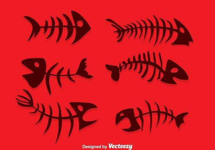 silhuett fiskben vektor