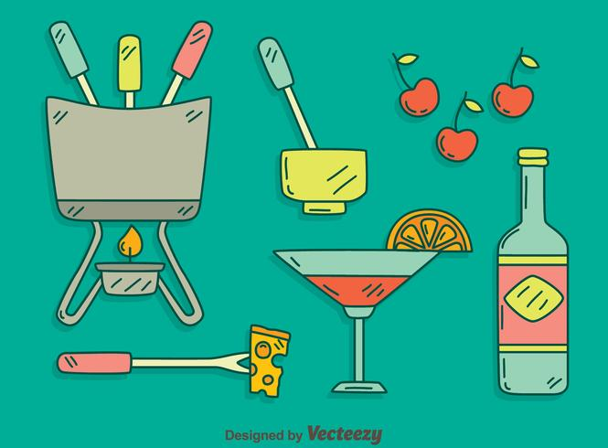 Hand Drawn Fondue Party Vector