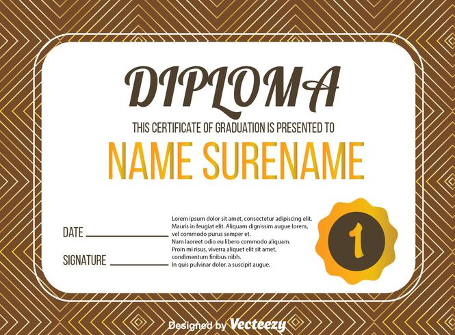 Diploma Certificate With Abstract Line Vector