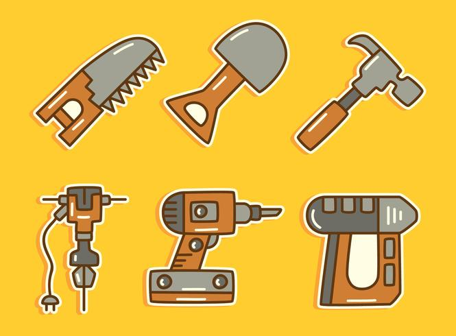 Construction Tools On Yellow Vector