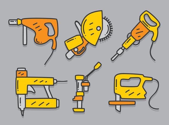 Hand Drawn Construction pneumatic Tools Vector