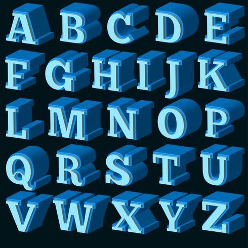 Vektorblå 3d teckensnitt