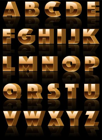 Vector Golden 3d Alphabet