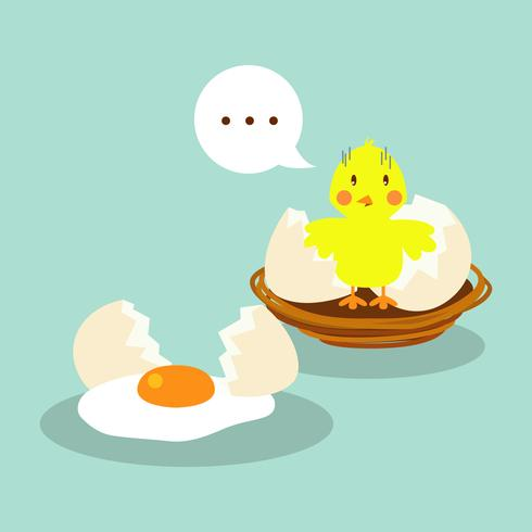 Broken Egg in Flat Design Illustration