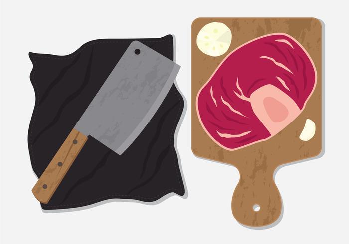 Kalvkött och köttkniv