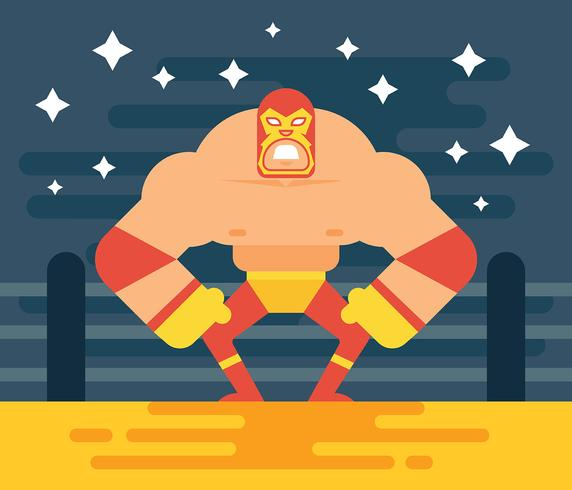 Mexican Wrestler Illustration