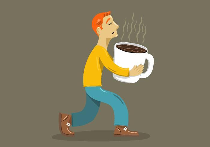 Big Coffee Cup Man Vector