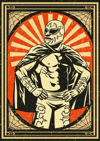 Vintage Mexican Wrestler Poster