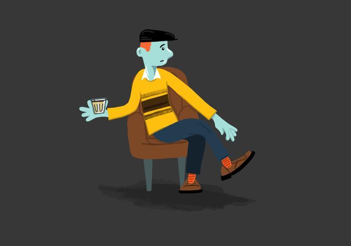 Relajado hombre sentado Vector