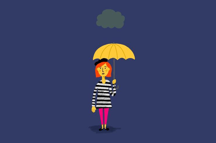Woman with Umbrella Vector