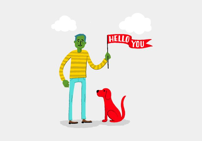 Green Man with Hello Banner & Dog Vector