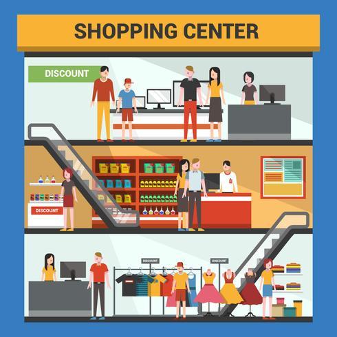 Three Floor Shopping Center Vector Illustration