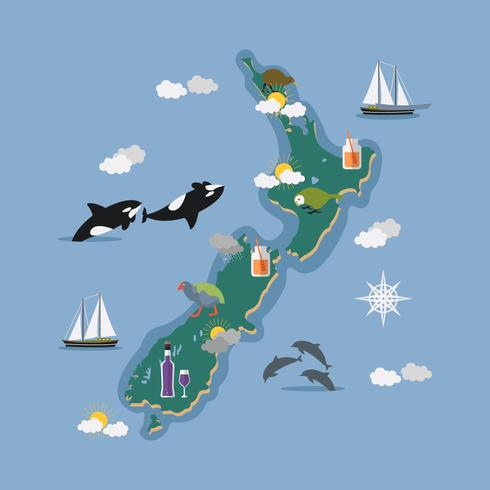 New Zealand Map With Icon Vector Illustration