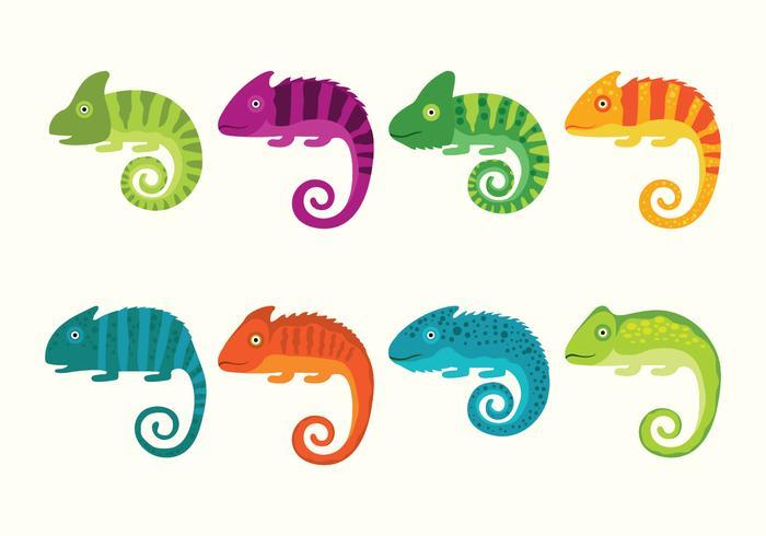Cute Chameleon Vector Set