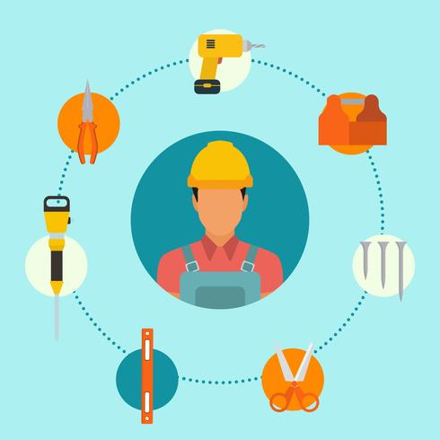 Flat Construction Worker Vectors